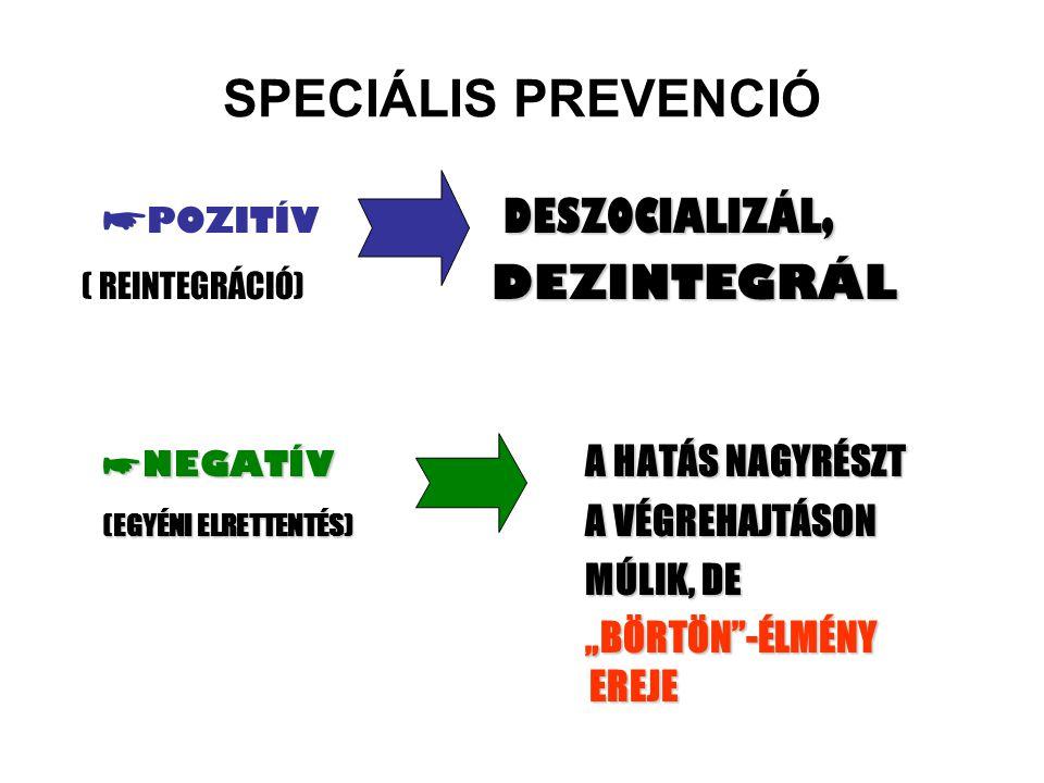 SPECIÁLIS PREVENCIÓ DESZOCIALIZÁL, ☛ POZITÍV DESZOCIALIZÁL, DEZINTEGRÁL ( REINTEGRÁCIÓ) DEZINTEGRÁL ☛ NEGATÍV A HATÁS NAGYRÉSZT (EGYÉNI ELRETTENTÉS) A