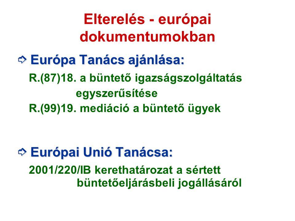 Elterelés - európai dokumentumokban ➮ Európa Tanács ajánlása: R.(87)18. a büntető igazságszolgáltatás egyszerűsítése R.(99)19. mediáció a büntető ügye