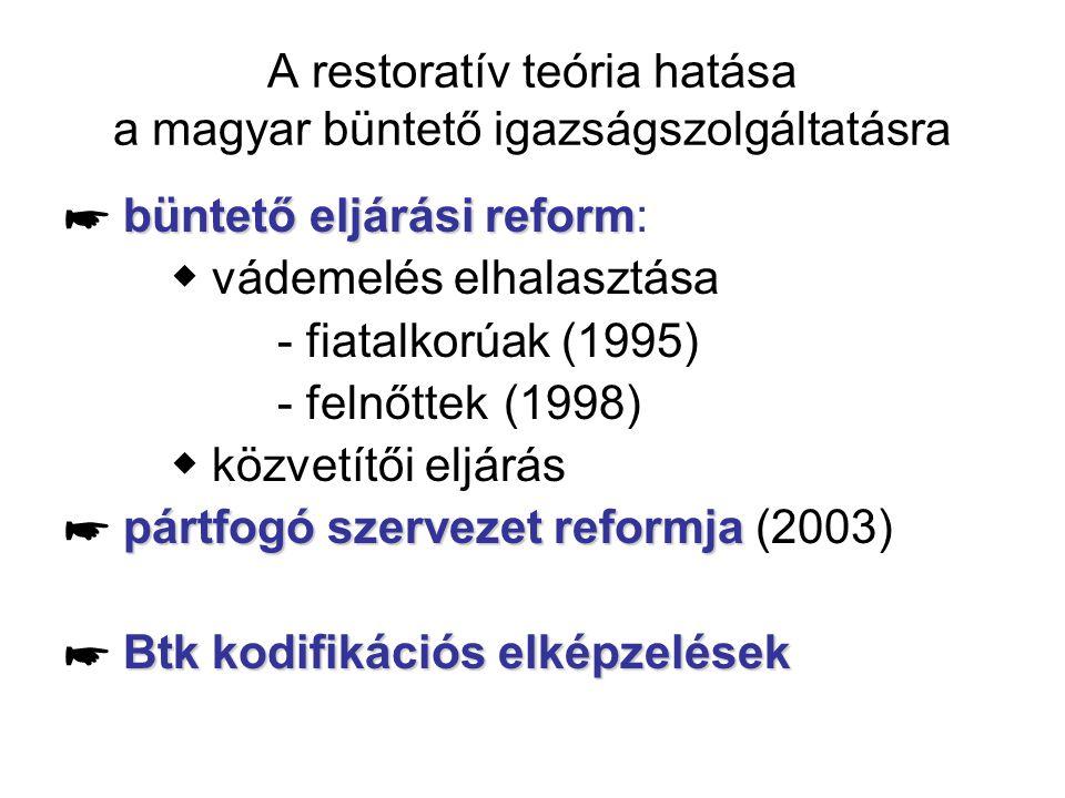 A restoratív teória hatása a magyar büntető igazságszolgáltatásra büntető eljárási reform ☛ büntető eljárási reform: ◆ vádemelés elhalasztása - fiatal