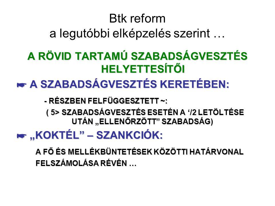 Btk reform a legutóbbi elképzelés szerint … A RÖVID TARTAMÚ SZABADSÁGVESZTÉS HELYETTESÍTŐI ☛ A SZABADSÁGVESZTÉS KERETÉBEN: - RÉSZBEN FELFÜGGESZTETT ~: