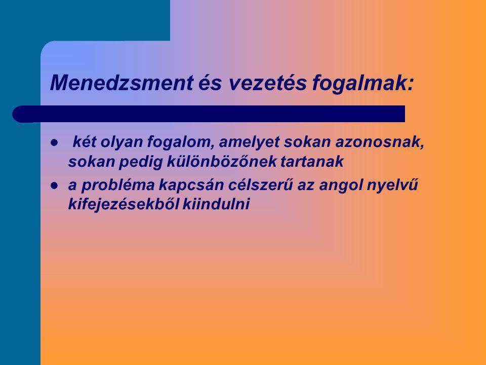 Menedzsment és vezetés fogalmak:  két olyan fogalom, amelyet sokan azonosnak, sokan pedig különbözőnek tartanak  a probléma kapcsán célszerű az ango