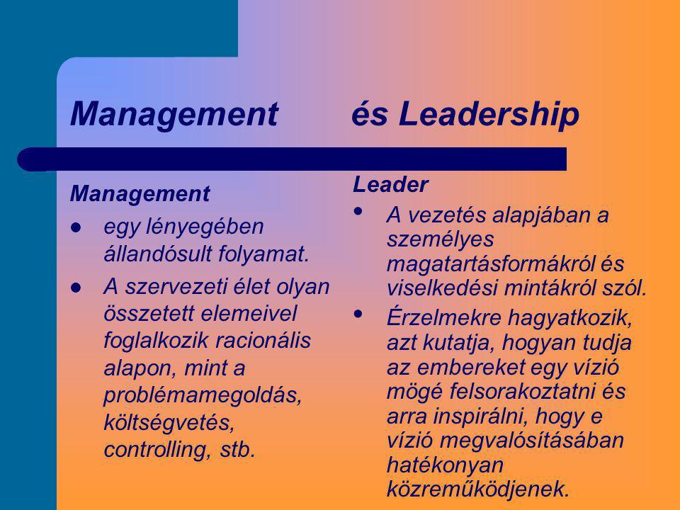 Management és Leadership Management  egy lényegében állandósult folyamat.  A szervezeti élet olyan összetett elemeivel foglalkozik racionális alapon