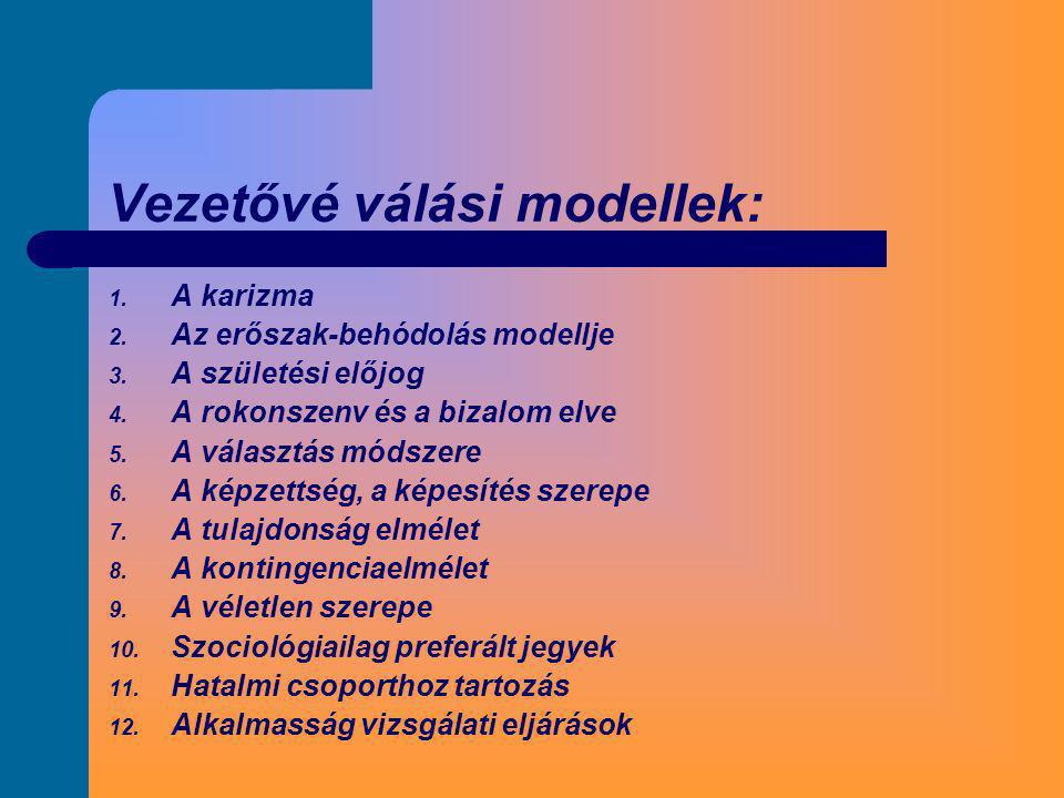 Vezetővé válási modellek: 1. A karizma 2. Az erőszak-behódolás modellje 3. A születési előjog 4. A rokonszenv és a bizalom elve 5. A választás módszer