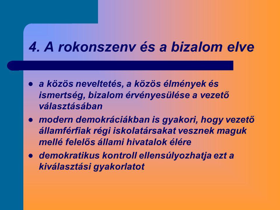 4. A rokonszenv és a bizalom elve  a közös neveltetés, a közös élmények és ismertség, bizalom érvényesülése a vezető választásában  modern demokráci