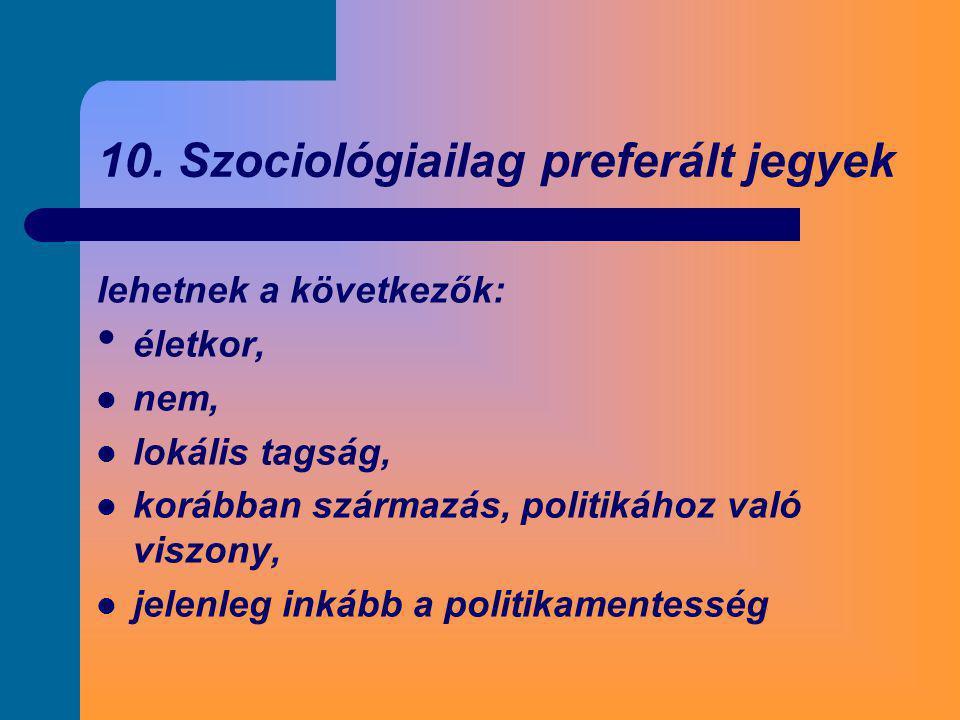 10. Szociológiailag preferált jegyek lehetnek a következők: • életkor,  nem,  lokális tagság,  korábban származás, politikához való viszony,  jele