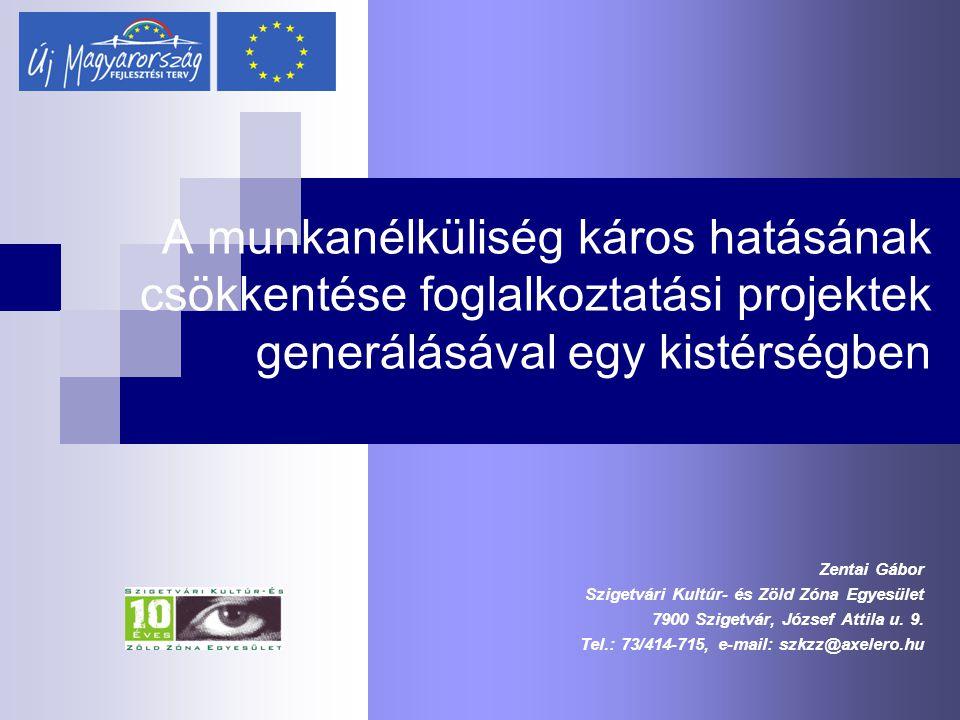 A munkanélküliség káros hatásának csökkentése foglalkoztatási projektek generálásával egy kistérségben Zentai Gábor Szigetvári Kultúr- és Zöld Zóna Eg