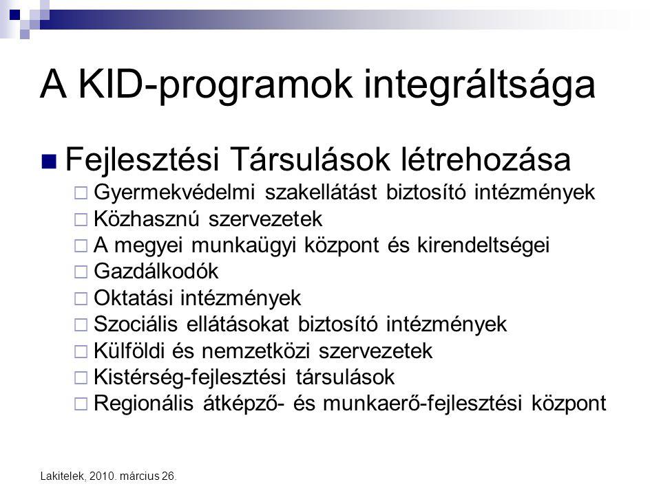 Lakitelek, 2010. március 26. A KID-programok integráltsága  Fejlesztési Társulások létrehozása  Gyermekvédelmi szakellátást biztosító intézmények 