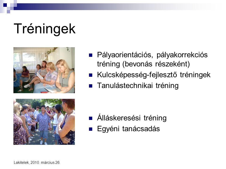 Lakitelek, 2010. március 26. Tréningek  Pályaorientációs, pályakorrekciós tréning (bevonás részeként)  Kulcsképesség-fejlesztő tréningek  Tanuláste