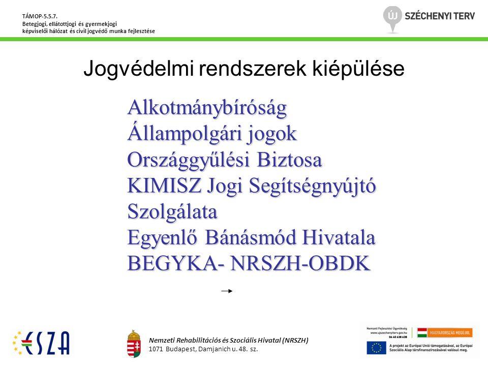 Jogvédelmi rendszerek kiépülése TÁMOP-5.5.7. Betegjogi, ellátottjogi és gyermekjogi képviselői hálózat és civil jogvédő munka fejlesztése Nemzeti Reha