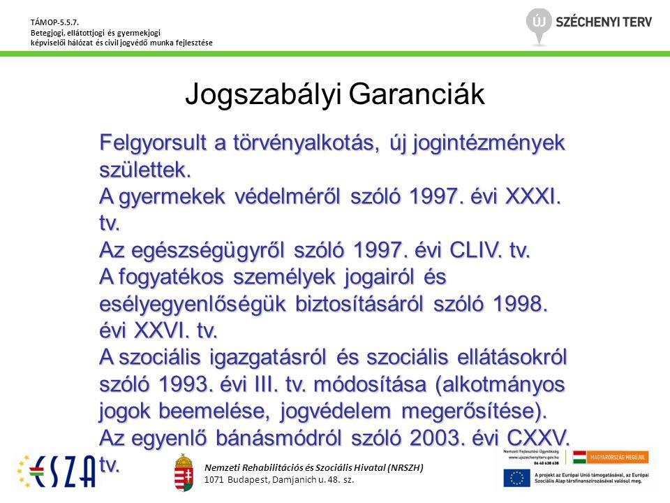 Jogszabályi Garanciák TÁMOP-5.5.7. Betegjogi, ellátottjogi és gyermekjogi képviselői hálózat és civil jogvédő munka fejlesztése Nemzeti Rehabilitációs