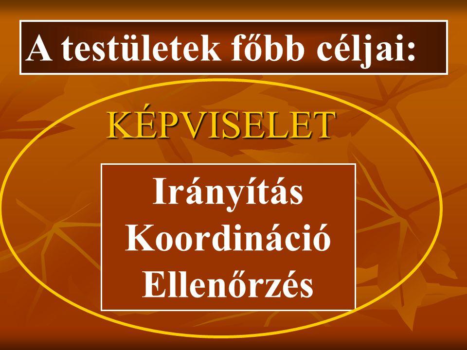 A testületek főbb céljai: Irányítás Koordináció Ellenőrzés KÉPVISELET