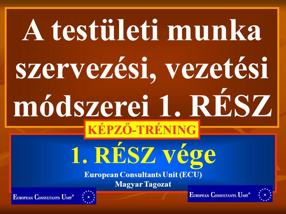 A testületi munka szervezési, vezetési módszerei 1. RÉSZ 1. RÉSZ vége European Consultants Unit (ECU) Magyar Tagozat KÉPZŐ-TRÉNING