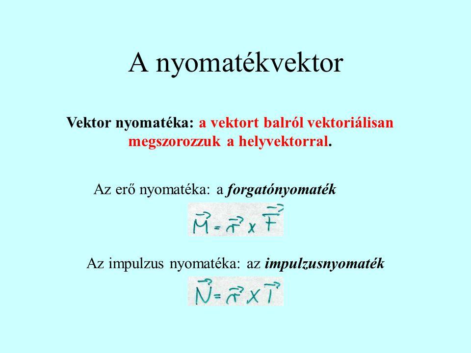 A nyomatékvektor Vektor nyomatéka: a vektort balról vektoriálisan megszorozzuk a helyvektorral. Az erő nyomatéka: a forgatónyomaték Az impulzus nyomat