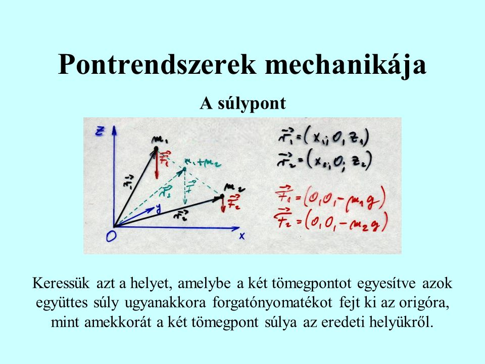 Pontrendszerek mechanikája A súlypont Keressük azt a helyet, amelybe a két tömegpontot egyesítve azok együttes súly ugyanakkora forgatónyomatékot fejt