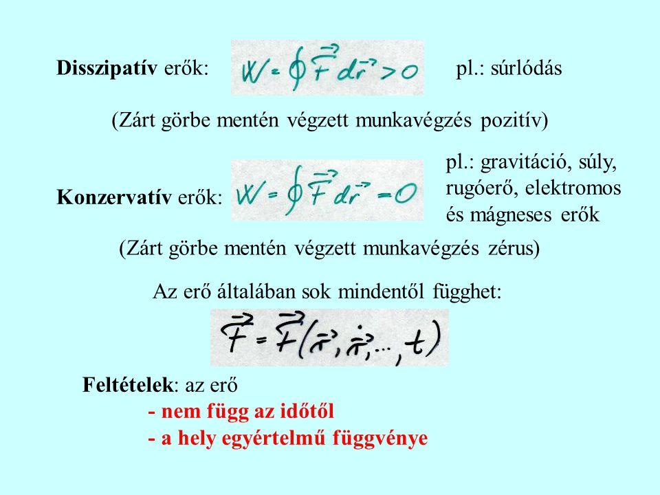 Konzervatív erőtér Konzervatív erőtér esetén létezik egy V(r) csak a helytől függő egyértelmű skalárfüggvény, az ún.
