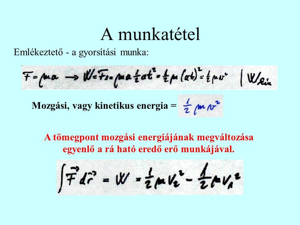 A munkatétel Emlékeztető - a gyorsítási munka: Mozgási, vagy kinetikus energia = A tömegpont mozgási energiájának megváltozása egyenlő a rá ható eredő