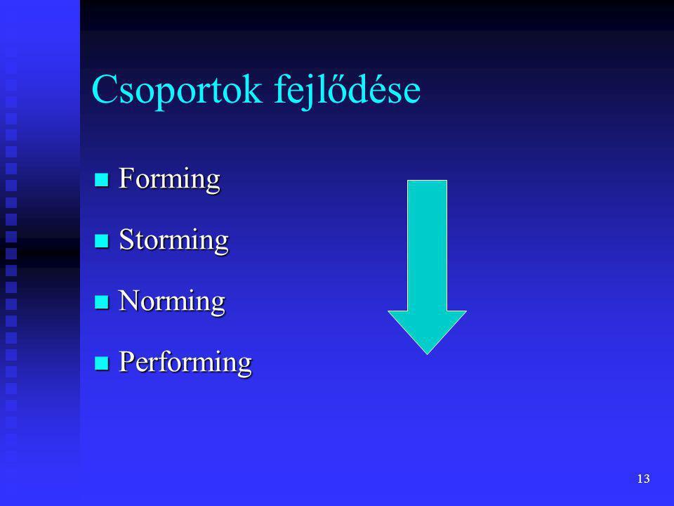 13 Csoportok fejlődése  Forming  Storming  Norming  Performing