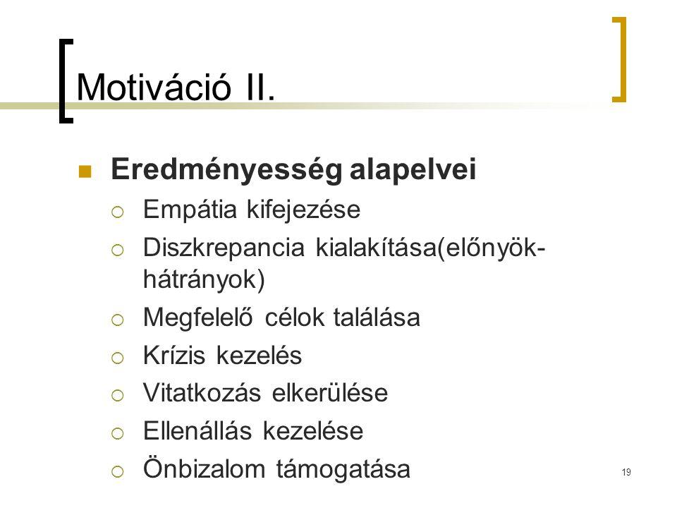 19 Motiváció II.