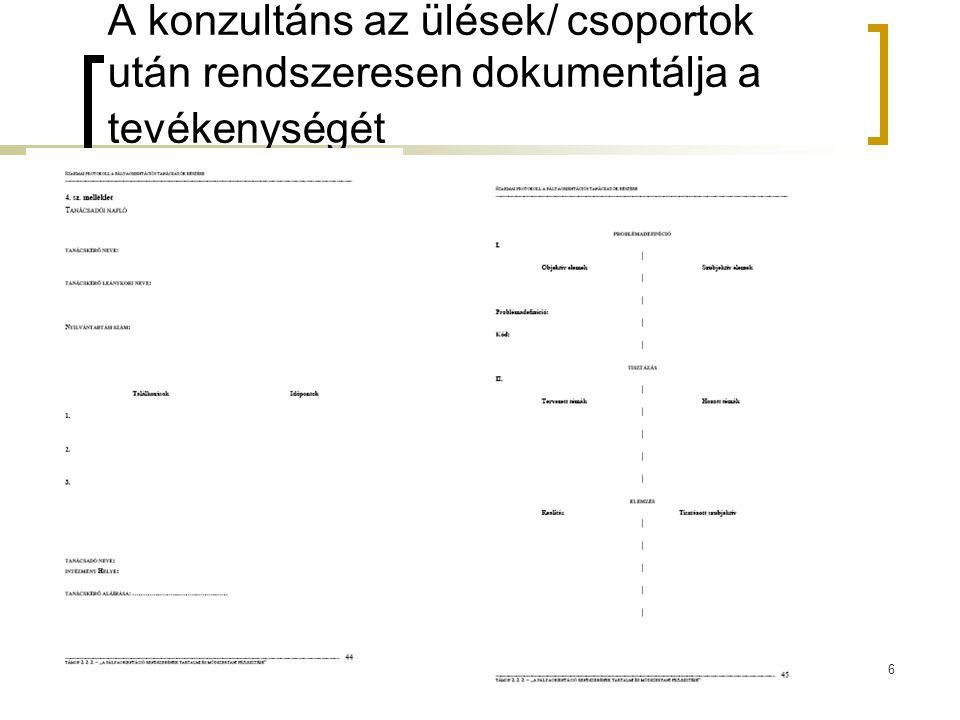 6 A konzultáns az ülések/ csoportok után rendszeresen dokumentálja a tevékenységét