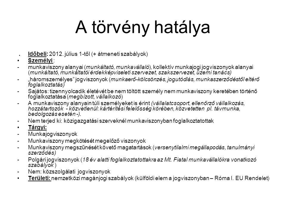 A törvény hatálya. Időbeli: 2012. július 1-től (+ átmeneti szabályok) •Személyi : -munkaviszony alanyai (munkáltató, munkavállaló), kollektív munkajog