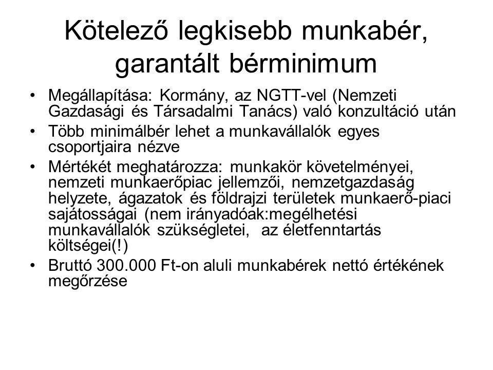 Kötelező legkisebb munkabér, garantált bérminimum •Megállapítása: Kormány, az NGTT-vel (Nemzeti Gazdasági és Társadalmi Tanács) való konzultáció után