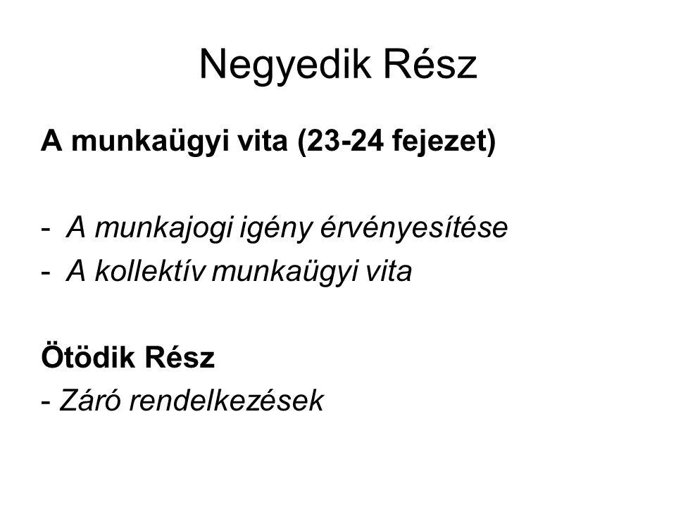 Negyedik Rész A munkaügyi vita (23-24 fejezet) -A munkajogi igény érvényesítése -A kollektív munkaügyi vita Ötödik Rész - Záró rendelkezések