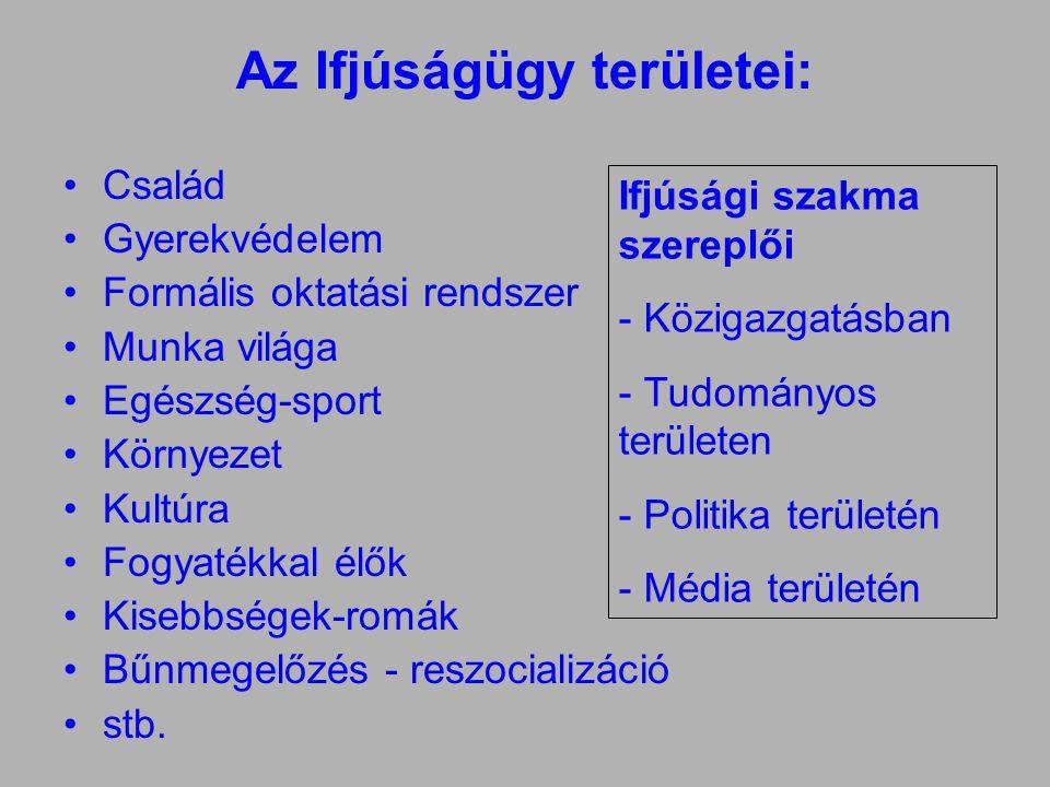 Az Ifjúságügy területei: •Család •Gyerekvédelem •Formális oktatási rendszer •Munka világa •Egészség-sport •Környezet •Kultúra •Fogyatékkal élők •Kisebbségek-romák •Bűnmegelőzés - reszocializáció •stb.