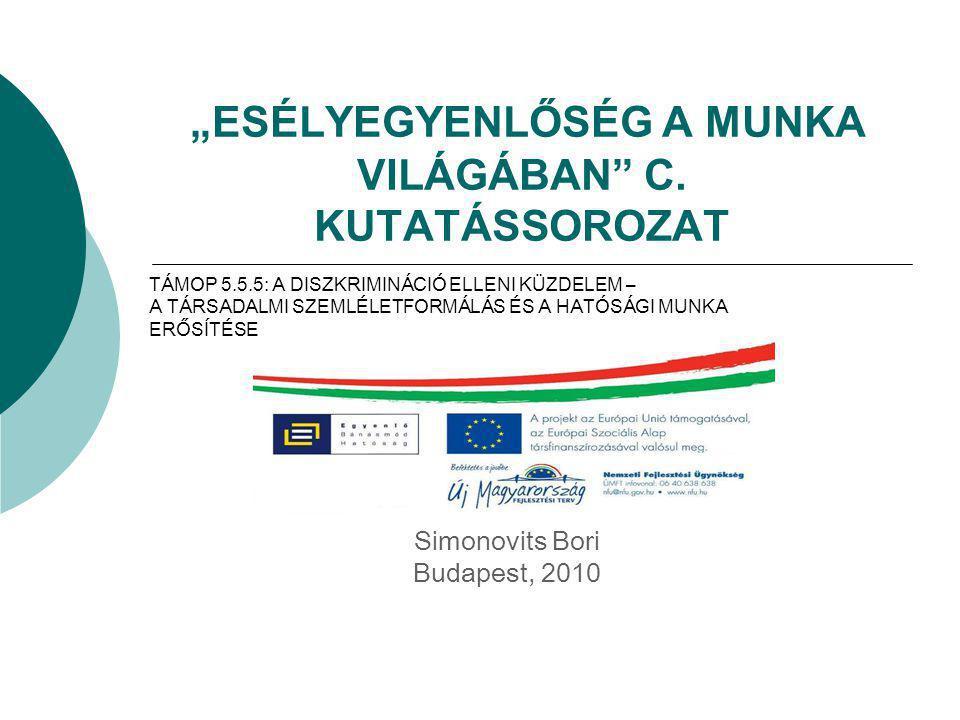 """""""ESÉLYEGYENLŐSÉG A MUNKA VILÁGÁBAN"""" C. KUTATÁSSOROZAT Simonovits Bori Budapest, 2010 TÁMOP 5.5.5: A DISZKRIMINÁCIÓ ELLENI KÜZDELEM – A TÁRSADALMI SZEM"""
