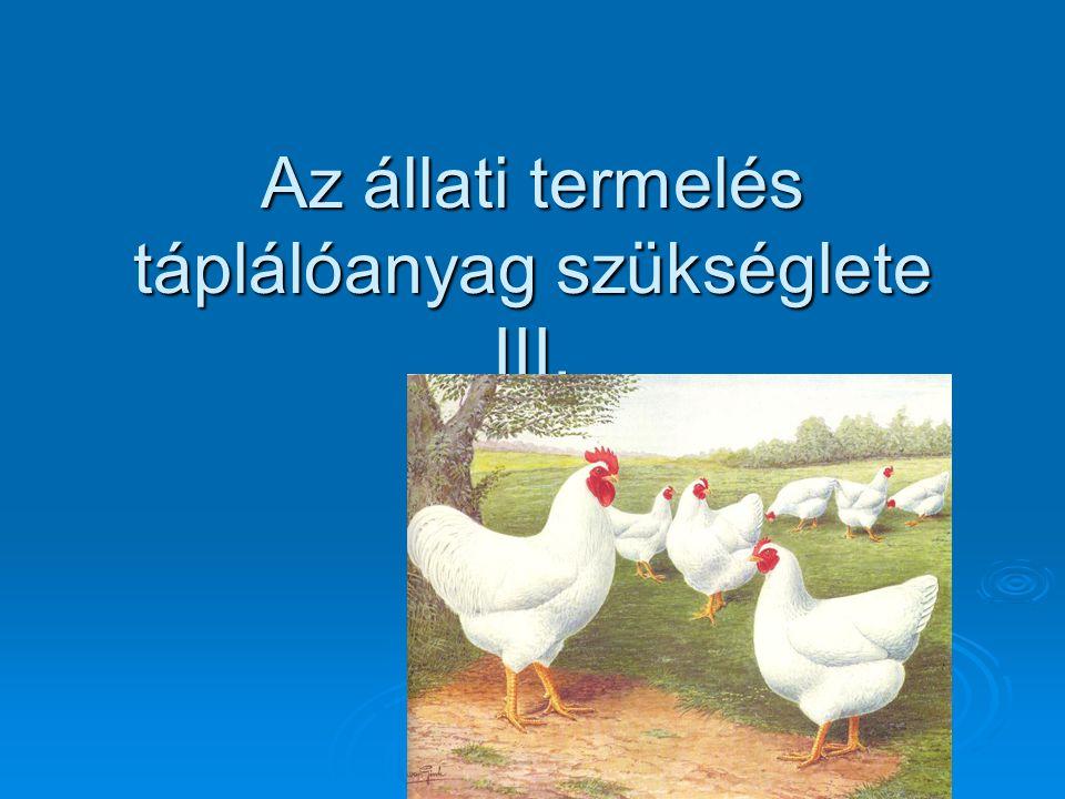 A tojástermelés táplálóanyag-szükséglete  Cél: minél kevesebb takarmányból állítsunk elő 1 tojást  1.