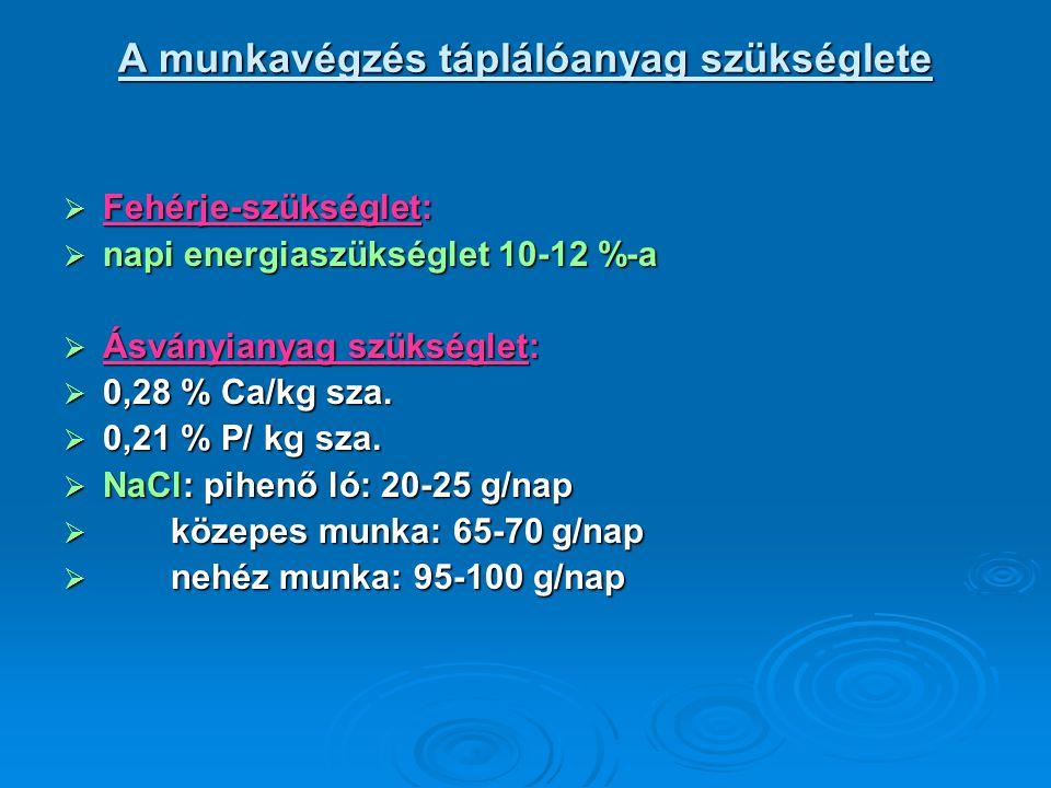 A munkavégzés táplálóanyag szükséglete  Fehérje-szükséglet:  napi energiaszükséglet 10-12 %-a  Ásványianyag szükséglet:  0,28 % Ca/kg sza.  0,21