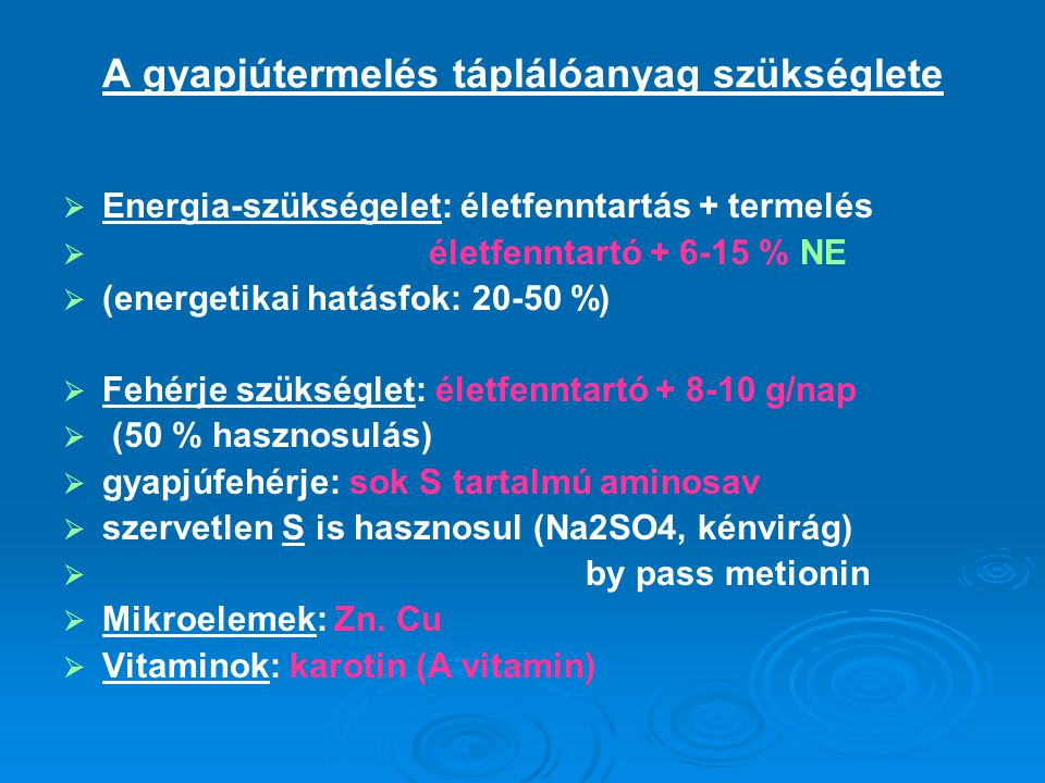 A munkavégzés táplálóanyag szükséglete  Izom: kémiai energia (ATP)→mechanikai munka + hő  Energia szükséglet:  energetikai hatásfok: 28-32 %-os  függ: munka nehézségre  terep  begyakorlottság  munkavégzés sebessége  életfenntartás + munkavégzés bruttó hatásfok 10-11 % könnyű munka: 9,41 MJ ME/kg tak.