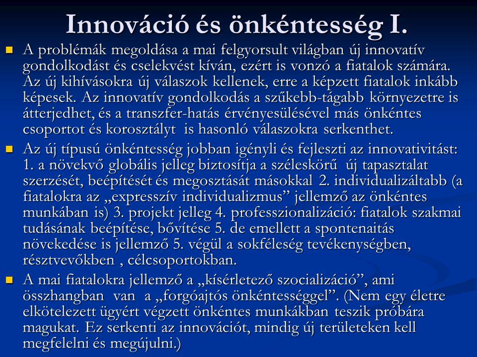 Innováció és önkéntesség I.