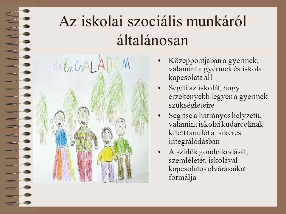 Az iskolai szociális munkáról általánosan •Középpontjában a gyermek, valamint a gyermek és iskola kapcsolata áll •Segíti az iskolát, hogy érzékenyebb