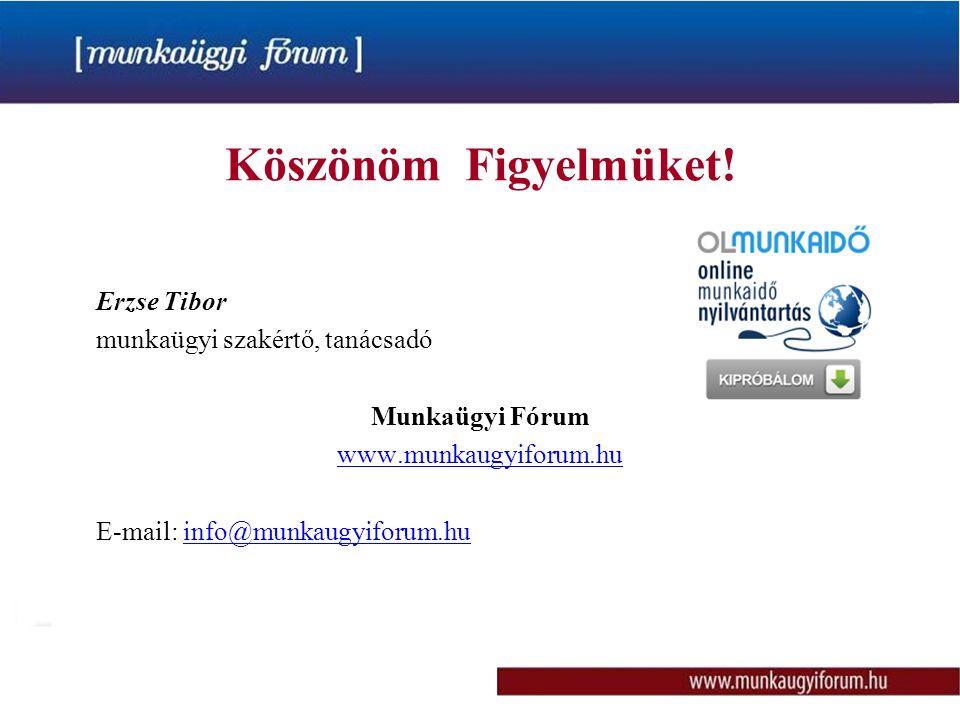 Köszönöm Figyelmüket! Erzse Tibor munkaügyi szakértő, tanácsadó Munkaügyi Fórum www.munkaugyiforum.hu E-mail: info@munkaugyiforum.hu
