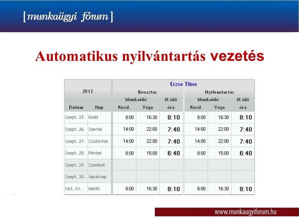Automatikus nyilvántartás vezetés