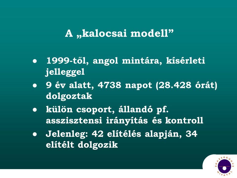 """A """"kalocsai modell ●1999-től, angol mintára, kísérleti jelleggel ●9 év alatt, 4738 napot (28.428 órát) dolgoztak ●külön csoport, állandó pf."""