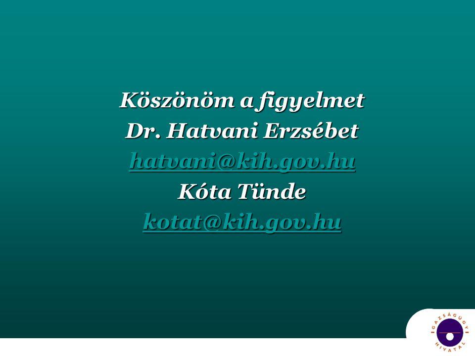 Köszönöm a figyelmet Dr. Hatvani Erzsébet hatvani@kih.gov.hu Kóta Tünde kotat@kih.gov.hu