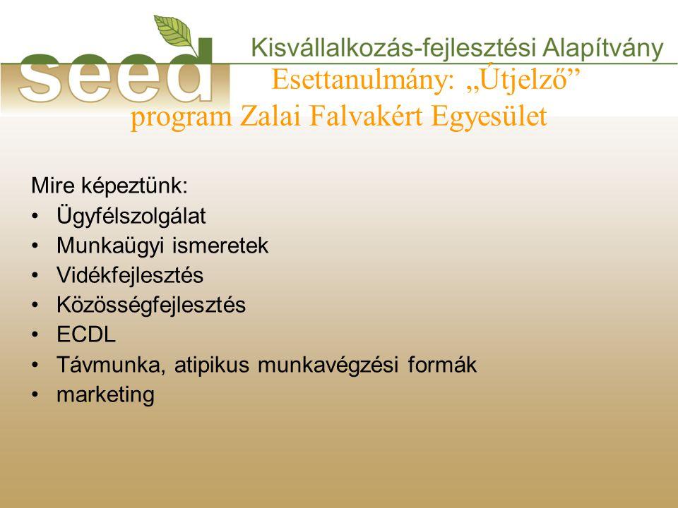"""Esettanulmány: """"Útjelző program Zalai Falvakért Egyesület Mire képeztünk: •Ügyfélszolgálat •Munkaügyi ismeretek •Vidékfejlesztés •Közösségfejlesztés •ECDL •Távmunka, atipikus munkavégzési formák •marketing"""