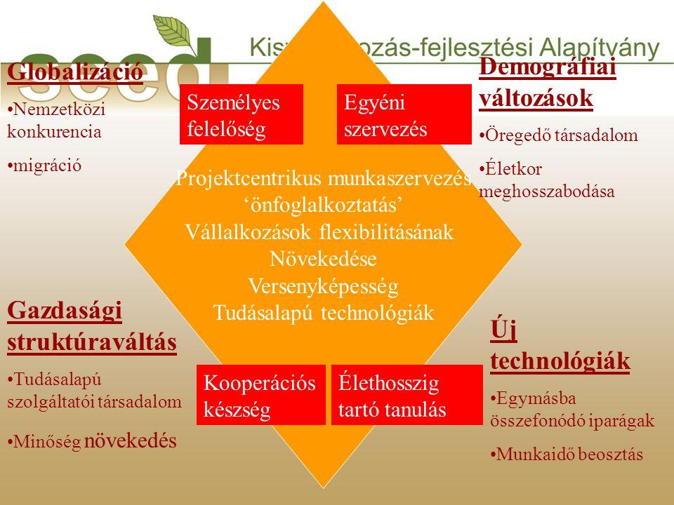 Projektcentrikus munkaszervezés 'önfoglalkoztatás' Vállalkozások flexibilitásának Növekedése Versenyképesség Tudásalapú technológiák Globalizáció •Nemzetközi konkurencia •migráció Gazdasági struktúraváltás •Tudásalapú szolgáltatói társadalom •Minőség növekedés Demográfiai változások •Öregedő társadalom •Életkor meghosszabodása Új technológiák •Egymásba összefonódó iparágak •Munkaidő beosztás Élethosszig tartó tanulás Kooperációs készség Személyes felelőség Egyéni szervezés
