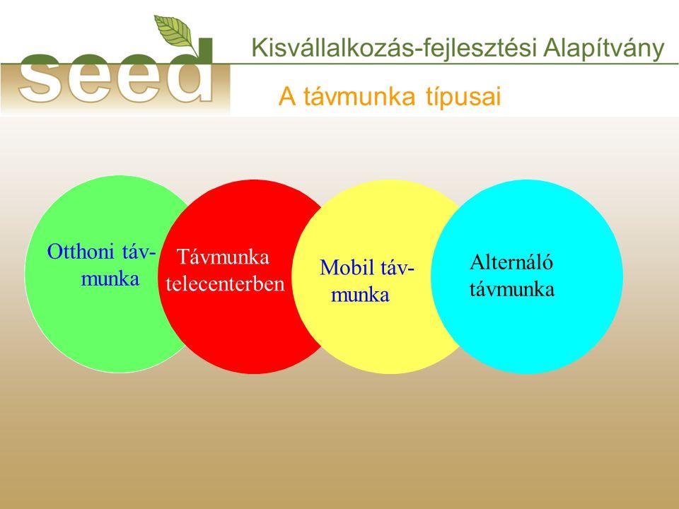 A távmunka típusai Mobil táv- munka Otthoni táv- munka Távmunka telecenterben Alternáló távmunka