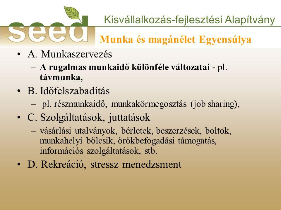Munka és magánélet Egyensúlya •A. Munkaszervezés –A rugalmas munkaidő különféle változatai - pl.