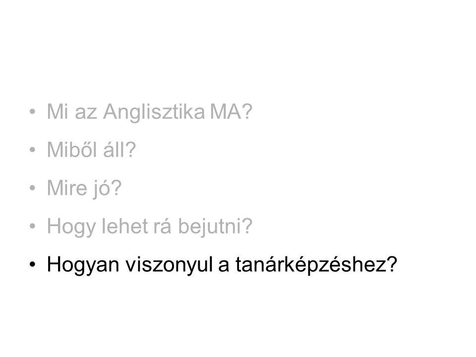 •Mi az Anglisztika MA? •Miből áll? •Mire jó? •Hogy lehet rá bejutni? •Hogyan viszonyul a tanárképzéshez?