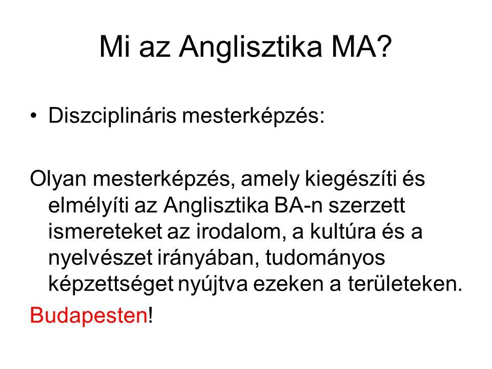 Mi az Anglisztika MA.