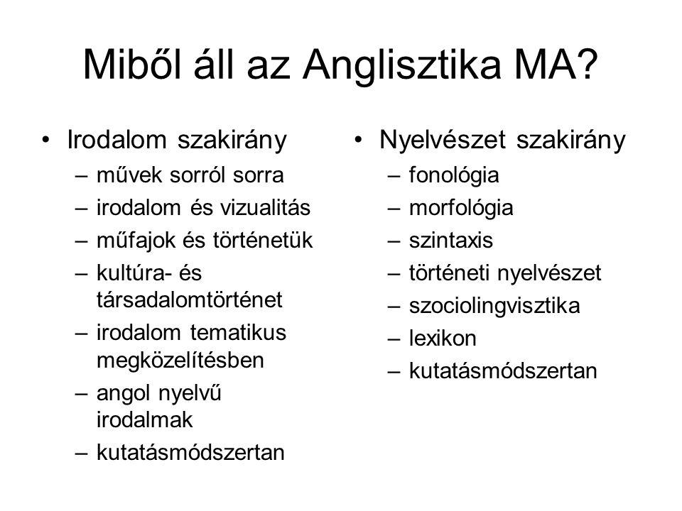 Miből áll az Anglisztika MA.