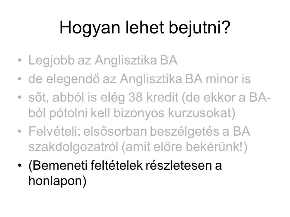 Hogyan lehet bejutni? •Legjobb az Anglisztika BA •de elegendő az Anglisztika BA minor is •sőt, abból is elég 38 kredit (de ekkor a BA- ból pótolni kel