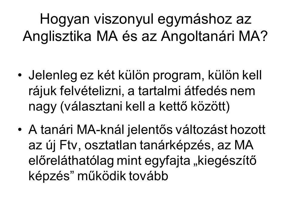 Hogyan viszonyul egymáshoz az Anglisztika MA és az Angoltanári MA? •Jelenleg ez két külön program, külön kell rájuk felvételizni, a tartalmi átfedés n
