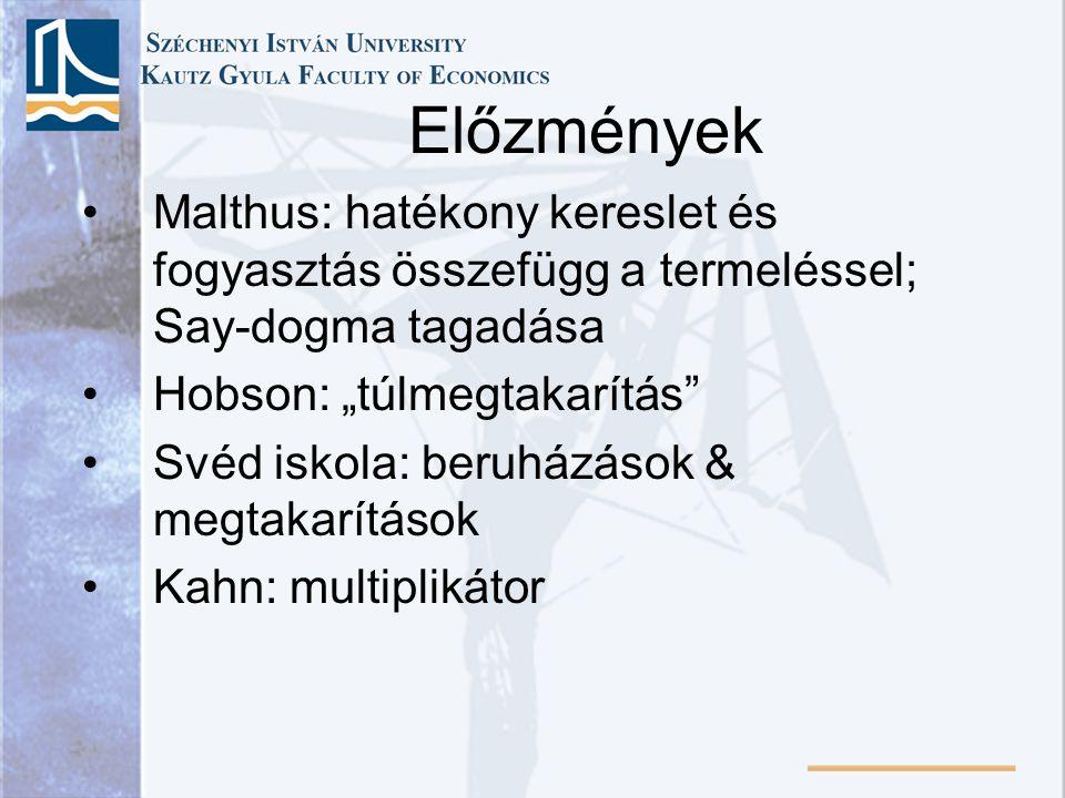 """•Malthus: hatékony kereslet és fogyasztás összefügg a termeléssel; Say-dogma tagadása •Hobson: """"túlmegtakarítás"""" •Svéd iskola: beruházások & megtakarí"""