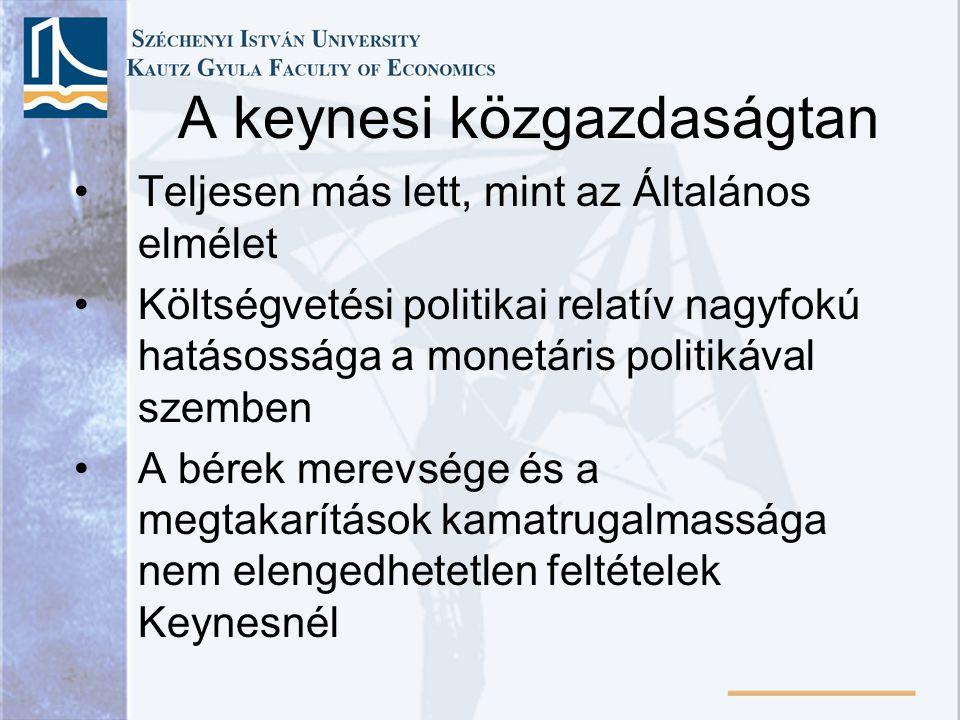 •Teljesen más lett, mint az Általános elmélet •Költségvetési politikai relatív nagyfokú hatásossága a monetáris politikával szemben •A bérek merevsége
