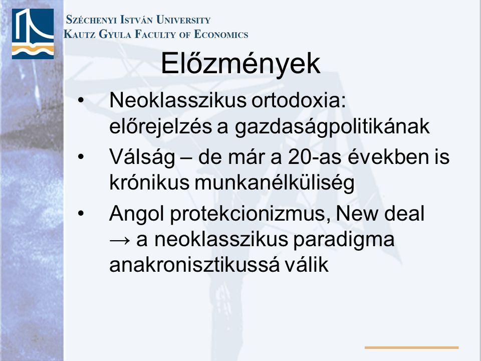 •Az uralkodó paradigma ereje → tankönyvek: a neoklasszikus elmélet speciális esete, a munkanélküliség melletti egyensúly modellje ↔ Keynes •Keynes nem tartotta önmagukban érvényesnek azokat a feltételeket, amelyekkel integrálni lehet modelljét a neoklasszikus elméletbe.