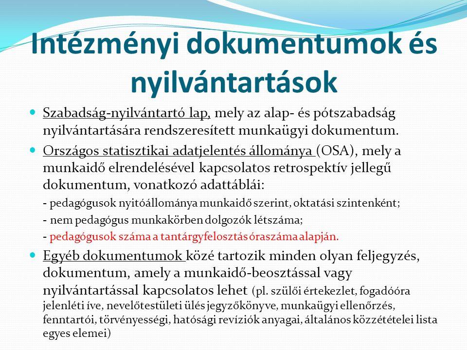 Intézményi dokumentumok és nyilvántartások  Szabadság-nyilvántartó lap, mely az alap- és pótszabadság nyilvántartására rendszeresített munkaügyi doku